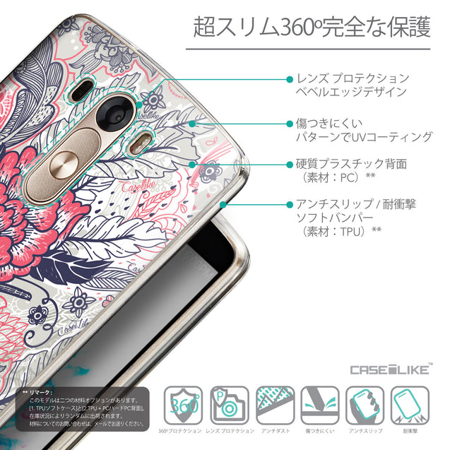Details in Japanese - CASEiLIKE LG G3 back cover Vintage Roses and Feathers Beige 2251
