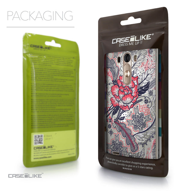 Packaging - CASEiLIKE LG G3 back cover Vintage Roses and Feathers Beige 2251