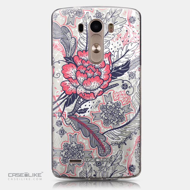 CASEiLIKE LG G3 back cover Vintage Roses and Feathers Beige 2251