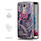 Front & Side View - CASEiLIKE LG G3 back cover Vintage Roses and Feathers Blue 2252