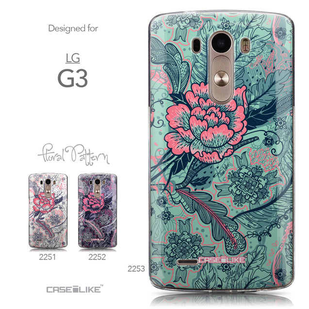 Collection - CASEiLIKE LG G3 back cover Vintage Roses and Feathers Turquoise 2253