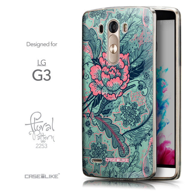 Front & Side View - CASEiLIKE LG G3 back cover Vintage Roses and Feathers Turquoise 2253