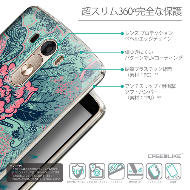 Details in Japanese - CASEiLIKE LG G3 back cover Vintage Roses and Feathers Turquoise 2253