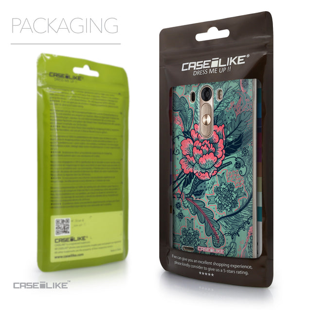 Packaging - CASEiLIKE LG G3 back cover Vintage Roses and Feathers Turquoise 2253
