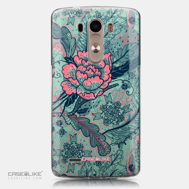CASEiLIKE LG G3 back cover Vintage Roses and Feathers Turquoise 2253