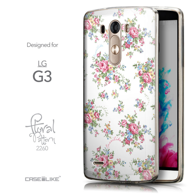 Front & Side View - CASEiLIKE LG G3 back cover Floral Rose Classic 2260