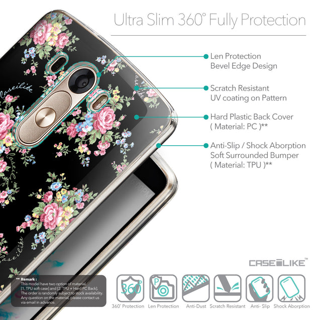 Details in English - CASEiLIKE LG G3 back cover Floral Rose Classic 2261