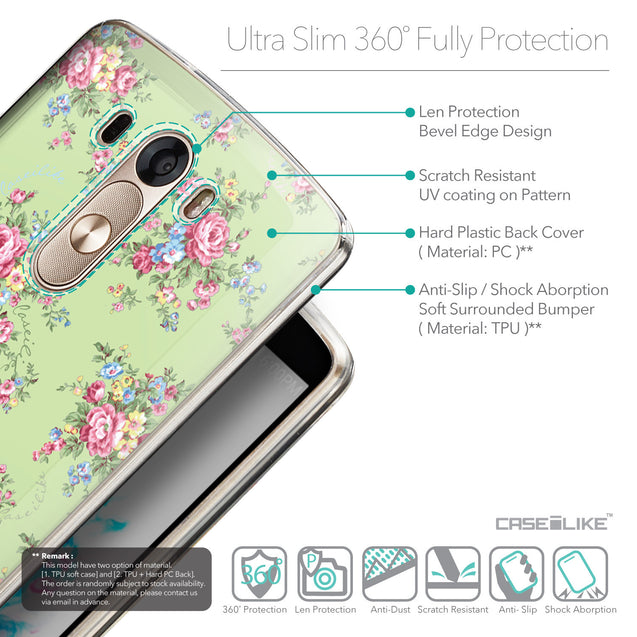 Details in English - CASEiLIKE LG G3 back cover Floral Rose Classic 2262