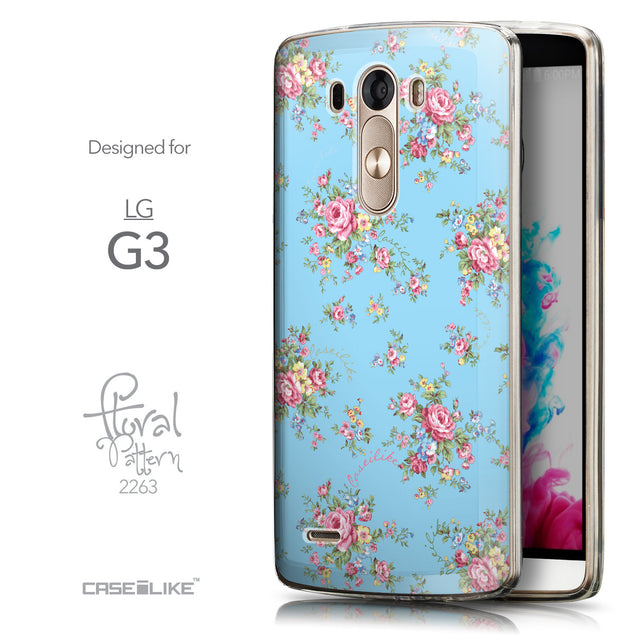 Front & Side View - CASEiLIKE LG G3 back cover Floral Rose Classic 2263