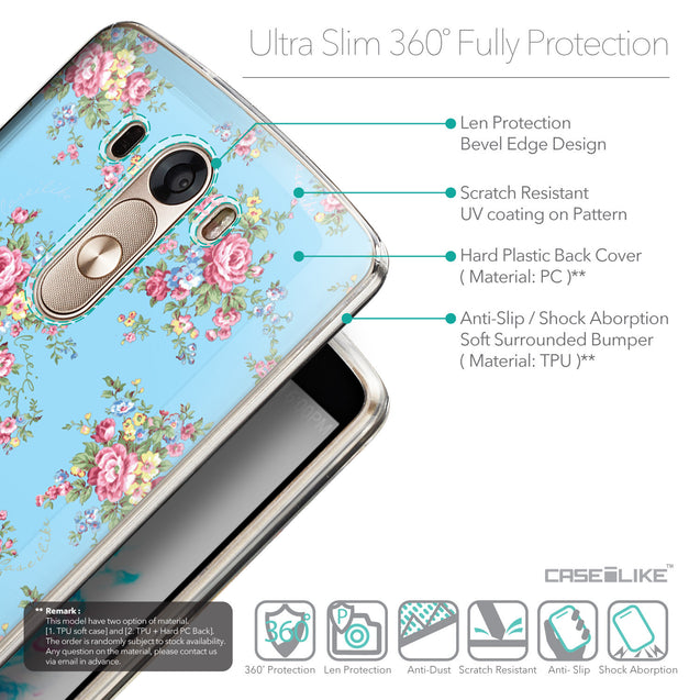 Details in English - CASEiLIKE LG G3 back cover Floral Rose Classic 2263