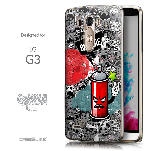 Front & Side View - CASEiLIKE LG G3 back cover Graffiti 2705