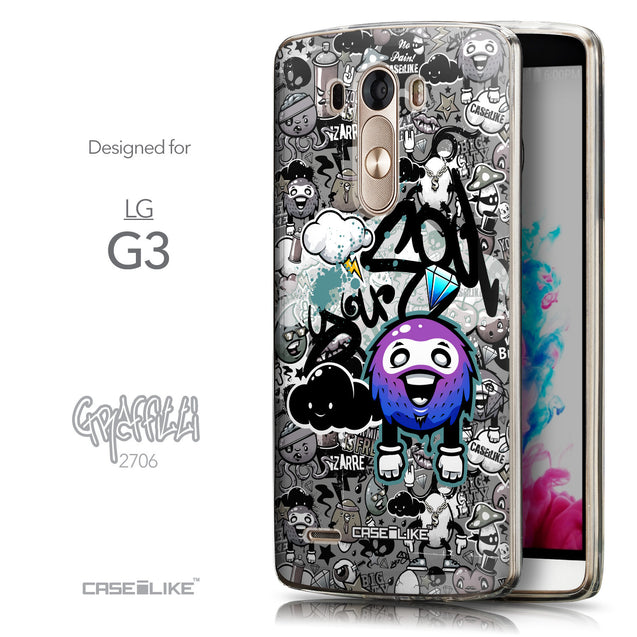 Front & Side View - CASEiLIKE LG G3 back cover Graffiti 2706