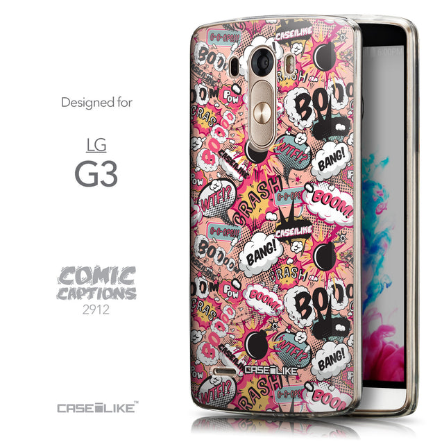Front & Side View - CASEiLIKE LG G3 back cover Comic Captions Pink 2912