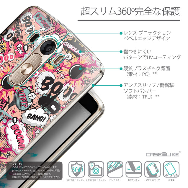 Details in Japanese - CASEiLIKE LG G3 back cover Comic Captions Pink 2912