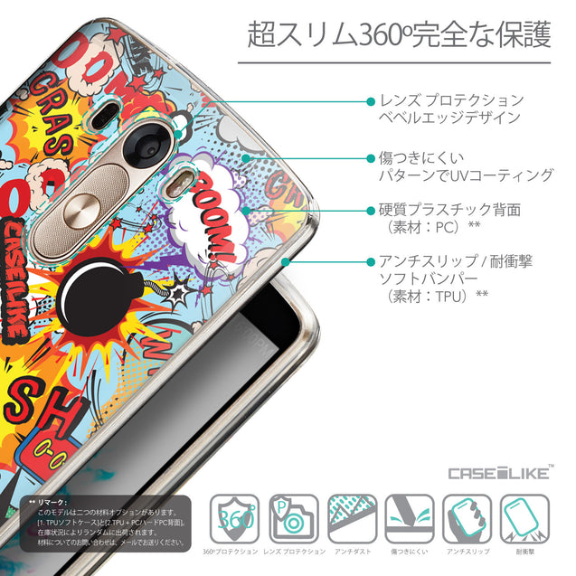 Details in Japanese - CASEiLIKE LG G3 back cover Comic Captions Blue 2913