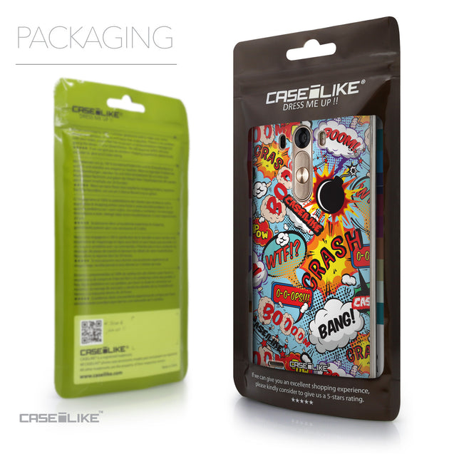Packaging - CASEiLIKE LG G3 back cover Comic Captions Blue 2913