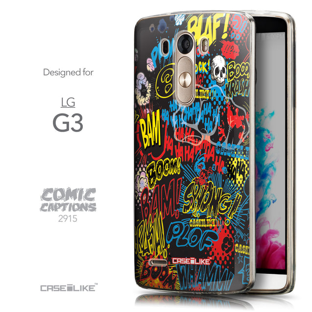Front & Side View - CASEiLIKE LG G3 back cover Comic Captions Black 2915