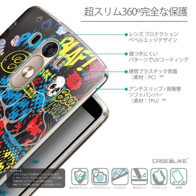 Details in Japanese - CASEiLIKE LG G3 back cover Comic Captions Black 2915