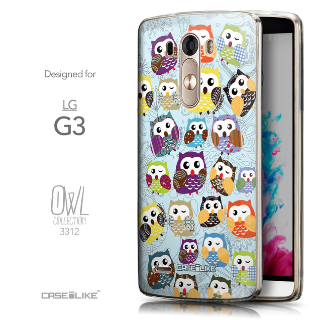 Front & Side View - CASEiLIKE LG G3 back cover Owl Graphic Design 3312