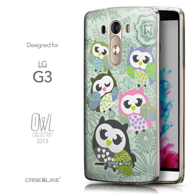 Front & Side View - CASEiLIKE LG G3 back cover Owl Graphic Design 3313