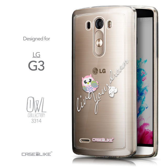 Front & Side View - CASEiLIKE LG G3 back cover Owl Graphic Design 3314