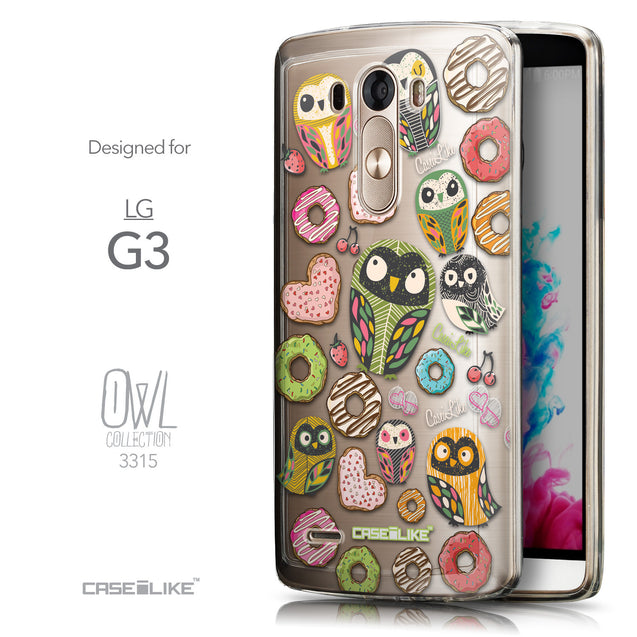 Front & Side View - CASEiLIKE LG G3 back cover Owl Graphic Design 3315