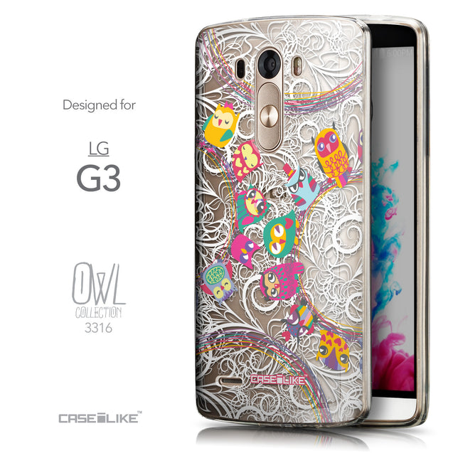 Front & Side View - CASEiLIKE LG G3 back cover Owl Graphic Design 3316
