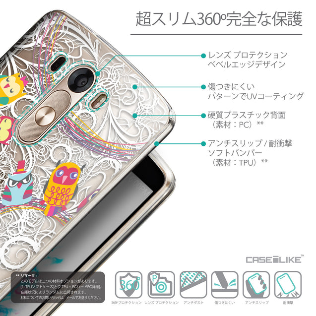 Details in Japanese - CASEiLIKE LG G3 back cover Owl Graphic Design 3316