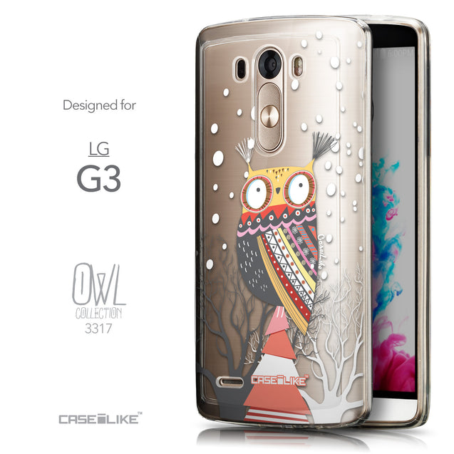 Front & Side View - CASEiLIKE LG G3 back cover Owl Graphic Design 3317