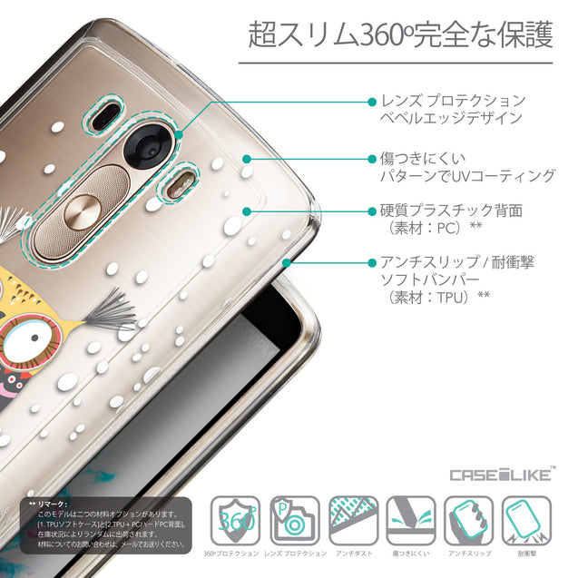 Details in Japanese - CASEiLIKE LG G3 back cover Owl Graphic Design 3317
