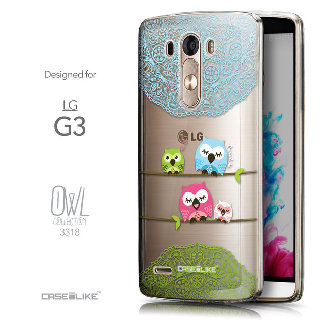 Front & Side View - CASEiLIKE LG G3 back cover Owl Graphic Design 3318