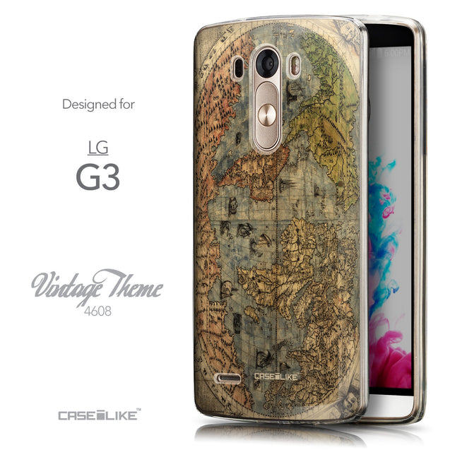 Front & Side View - CASEiLIKE LG G3 back cover World Map Vintage 4608