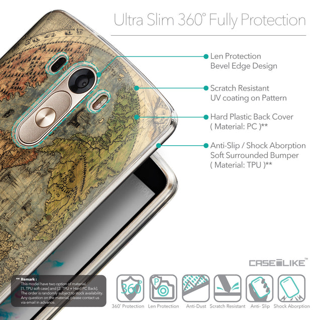 Details in English - CASEiLIKE LG G3 back cover World Map Vintage 4608