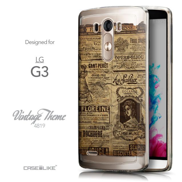 Front & Side View - CASEiLIKE LG G3 back cover Vintage Newspaper Advertising 4819