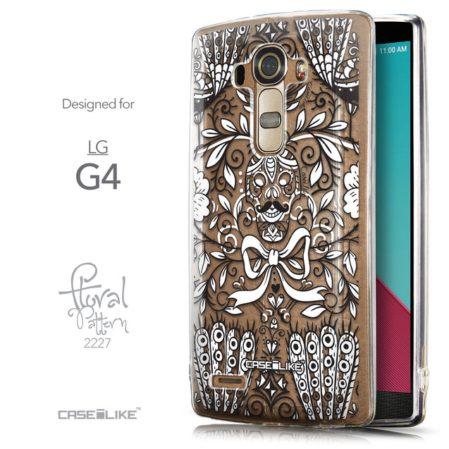 Front & Side View - CASEiLIKE LG G4 back cover Roses Ornamental Skulls Peacocks 2227