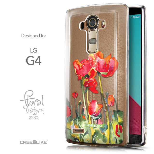 Front & Side View - CASEiLIKE LG G4 back cover Watercolor Floral 2230