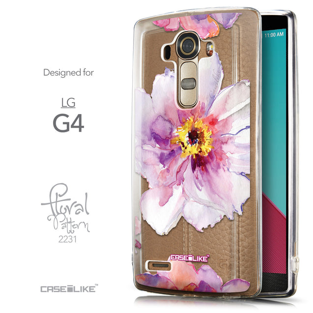 Front & Side View - CASEiLIKE LG G4 back cover Watercolor Floral 2231