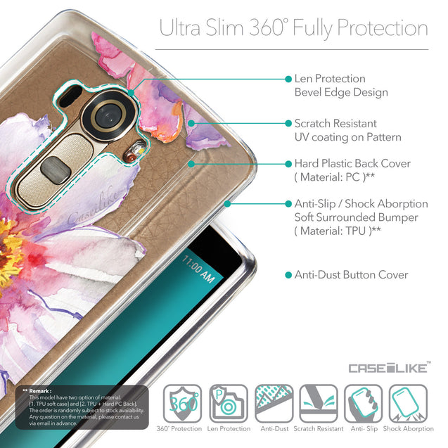 Details in English - CASEiLIKE LG G4 back cover Watercolor Floral 2231