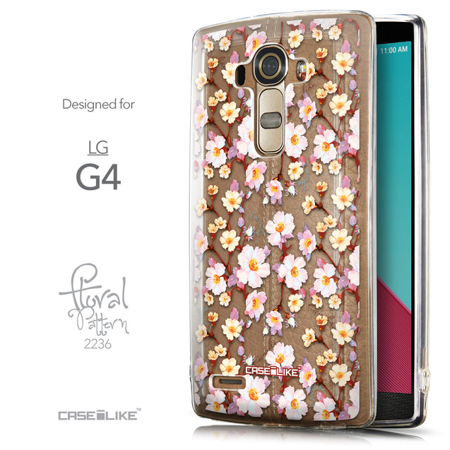 Front & Side View - CASEiLIKE LG G4 back cover Watercolor Floral 2236