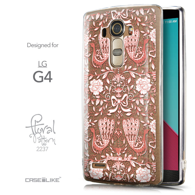 Front & Side View - CASEiLIKE LG G4 back cover Roses Ornamental Skulls Peacocks 2237