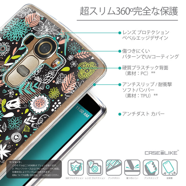 Details in Japanese - CASEiLIKE LG G4 back cover Spring Forest Black 2244