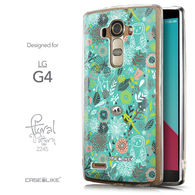 Front & Side View - CASEiLIKE LG G4 back cover Spring Forest Turquoise 2245