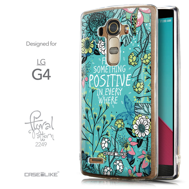 Front & Side View - CASEiLIKE LG G4 back cover Blooming Flowers Turquoise 2249