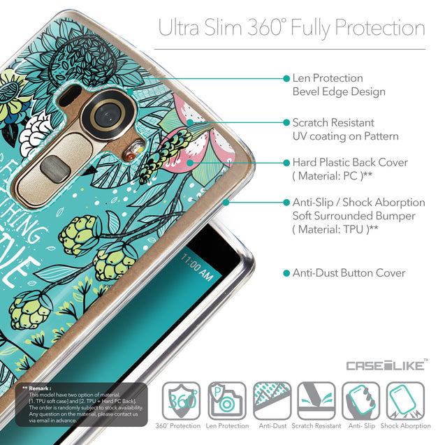 Details in English - CASEiLIKE LG G4 back cover Blooming Flowers Turquoise 2249
