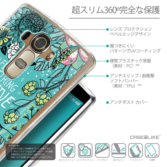 Details in Japanese - CASEiLIKE LG G4 back cover Blooming Flowers Turquoise 2249