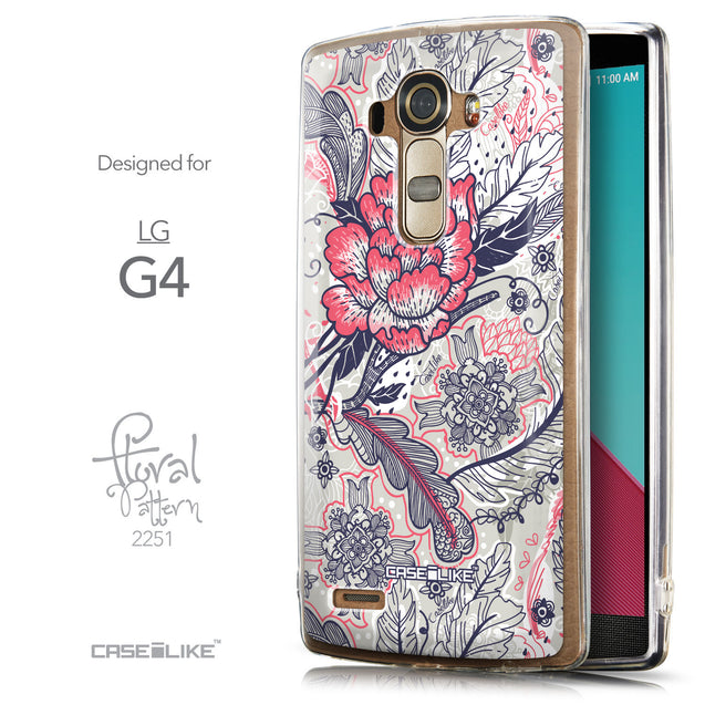 Front & Side View - CASEiLIKE LG G4 back cover Vintage Roses and Feathers Beige 2251