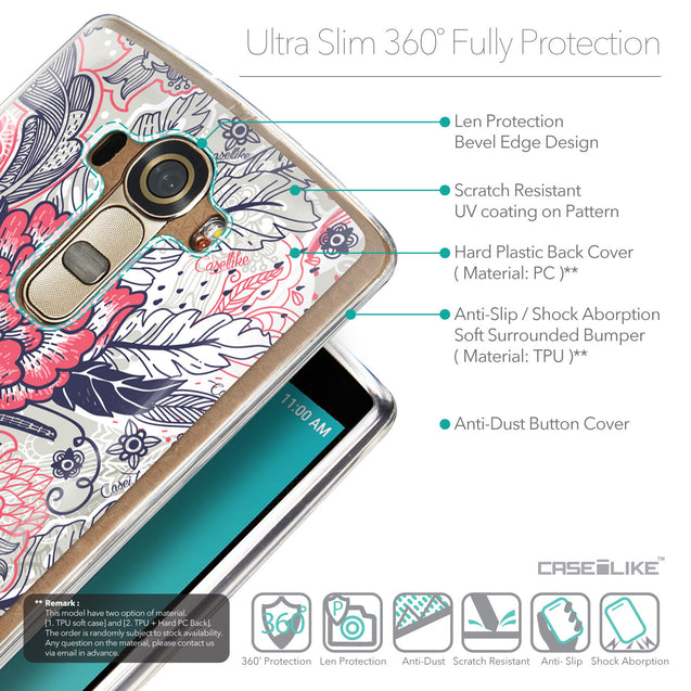 Details in English - CASEiLIKE LG G4 back cover Vintage Roses and Feathers Beige 2251