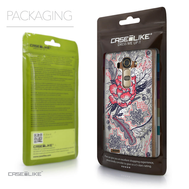 Packaging - CASEiLIKE LG G4 back cover Vintage Roses and Feathers Beige 2251