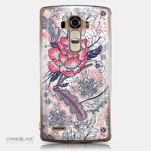 CASEiLIKE LG G4 back cover Vintage Roses and Feathers Beige 2251