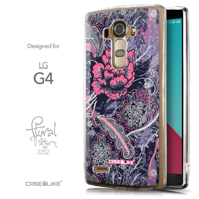 Front & Side View - CASEiLIKE LG G4 back cover Vintage Roses and Feathers Blue 2252